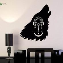 YOYOYU Vinyl Wall Decal Moon Howling Wolf Head Dreamcatcher Simple Art Modern Room Home Decoration wall Stickers FD245