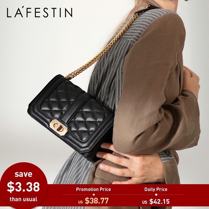 373d3f95172b LAFESTIN Women Shoulder Bag Designer Classical Flap Bag Genuine Leather  Handbag Shoulder Bags Messenger Bags bolsa feminina
