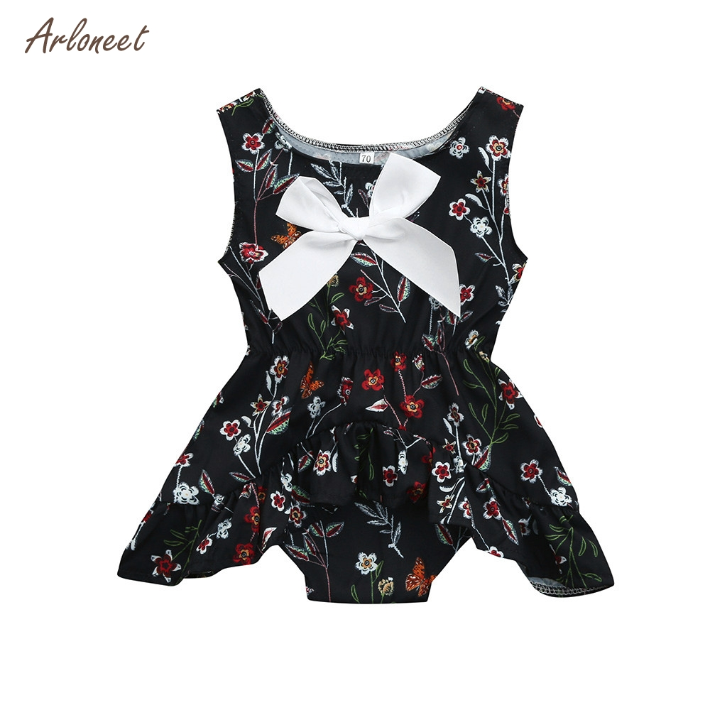 Cute Newborn Kids Baby Floral Print Girls Outfits Clothes Romper Jumpsuit_Apr17