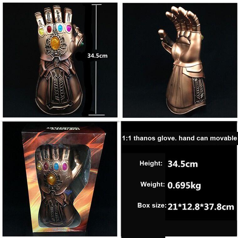 1:1 Scale Cosplay Infinity Gauntlet Avengers Infinity War Thanos Gloves Gold Cosplay Studs Halloween Prop New cosplay