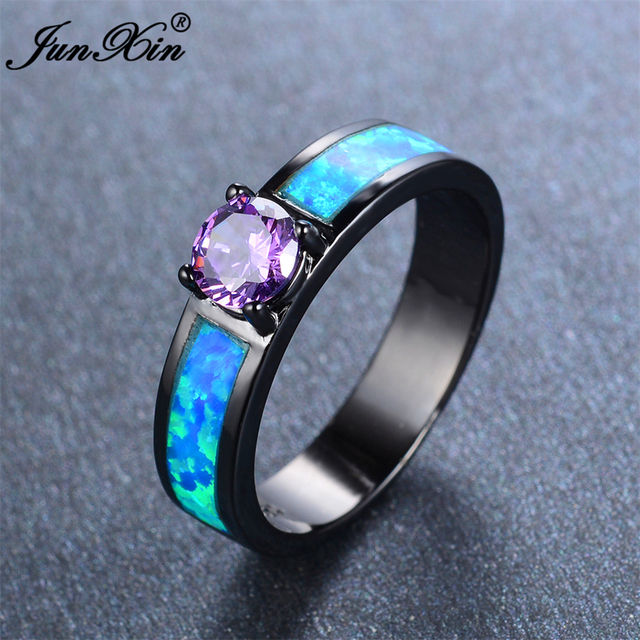 JUNXIN European Style Small Round Purple Ring Vintage Black Gold