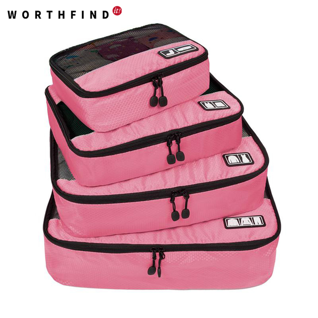 """2016 New Breathable Travel Bag 4 Set Packing Cubes Luggage Packing Organizers with Shoe Bag Fit 23"""" Carry on Suitcase"""