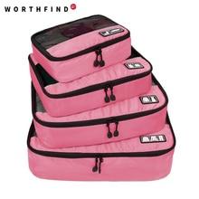 "WORTHFIND Bolsa de viaje 4 Set Cubos de embalaje Organizadores de equipaje con bolsa de zapatos Fit 23 ""Carry on Maleta"