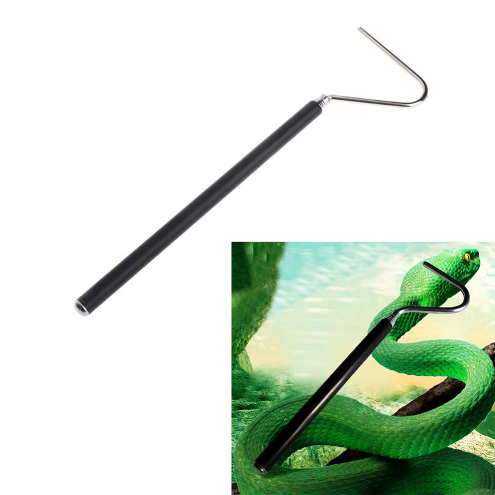 Snake Catcher Stainless Steel Snake Trap Black Adjustable Long Handle Catching Tools Trap Tong Snake Hook