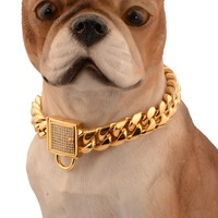 14mm Fashion Lock Buckle 316L Stainless Steel Gold Tone Miami Cuban Link Chain Pet Dog Choker Collar For Small Medium Dog 12 32