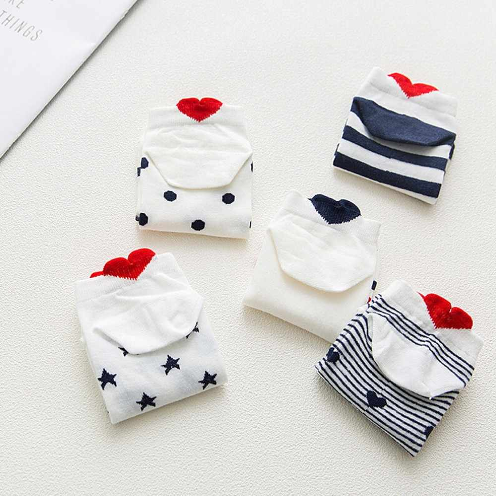 WOMAIL Women Socks Cotton Short Summer Fashion Casual Sports Work Heart-shaped Cotton Lovely Striped Sock Comfortable Slippers
