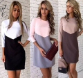 Kaywide Casual Patchwork Women Dress 2016 3/4 Sleeve Bodycon O-Neck Woman Autumn Dress Plus Size Work Office Dresses A16337