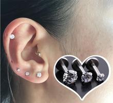 Titanium steel Male jewelry zirconium teeth lip nail silver stud earring inlaid tongue nail long bar earrings single ear women