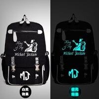 Michael Jackson King Of Pop MJ Backpack Messenger Luminou Bag School Travel Bags Anime Gift