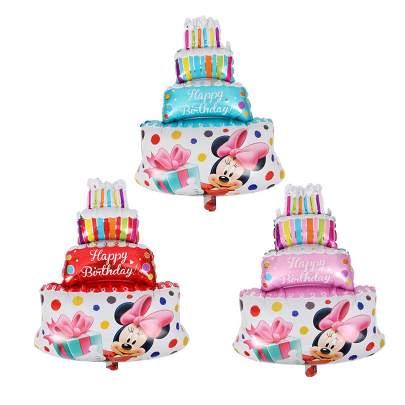 50 Pieces Blue Pink Large Cake Happy Birthday Foil Balloons for Baby Kids Birthday Party Decorations Mickey Minnie Inflatable