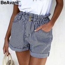 BeAvant مخطط الصيف السببية السراويل النساء 2019 زر سستة القطن عالية الخصر السراويل الإناث الشاطئ hottrousers قصيرة السراويل أسفل