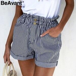 Image 1 - BeAvant פסים קיץ סיבתי מכנסיים קצרים נשים 2019 כפתור רוכסן כותנה גבוהה מותן מכנסיים נקבה חוף מכנסונים מיני מכנסיים קצרים תחתון