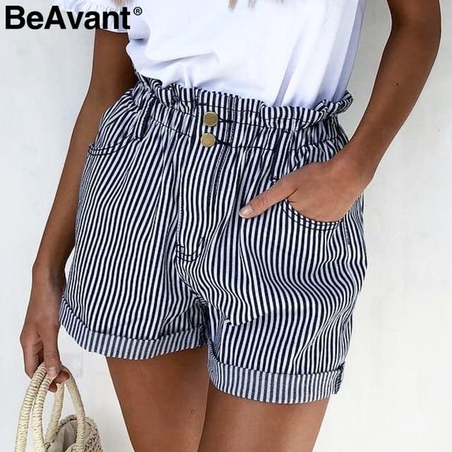 BeAvant פסים קיץ סיבתי מכנסיים קצרים נשים 2019 כפתור רוכסן כותנה גבוהה מותן מכנסיים נקבה חוף מכנסונים מיני מכנסיים קצרים תחתון