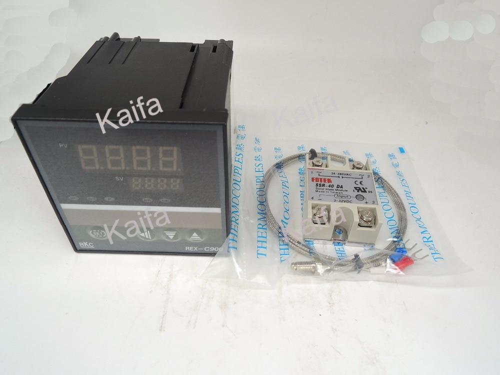 ,Digital PID Temperature Controller Thermostat REX-C900  + 1M K Thermocouple Probe+SSR 40DA,100V~240V AC set of pid digital temperature thermostat regulator controller rex c100 with ssr output thermocouple k solid state relay ssr 40a