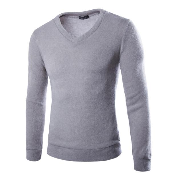 Homens Camisola 2017 Nova Listagem Tendência Coringa Multicolor Pelúcia Camisola Dos Homens Com Decote Em V Pullover Camisola Da Moda Casual Slim Fit
