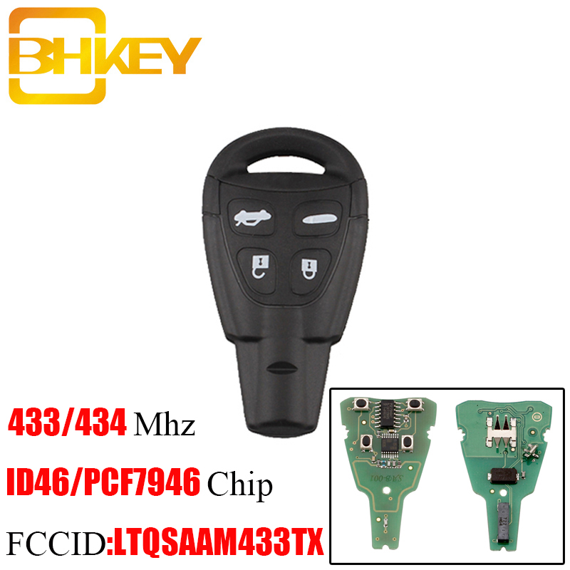 BHKEY 4Buttons Smart Remote Key Keyless Fob 433/434Mhz For SAAB 93 95 9-3 9-5 2003-2010 LTQSAAM433TX Uncut Blade keysBHKEY 4Buttons Smart Remote Key Keyless Fob 433/434Mhz For SAAB 93 95 9-3 9-5 2003-2010 LTQSAAM433TX Uncut Blade keys