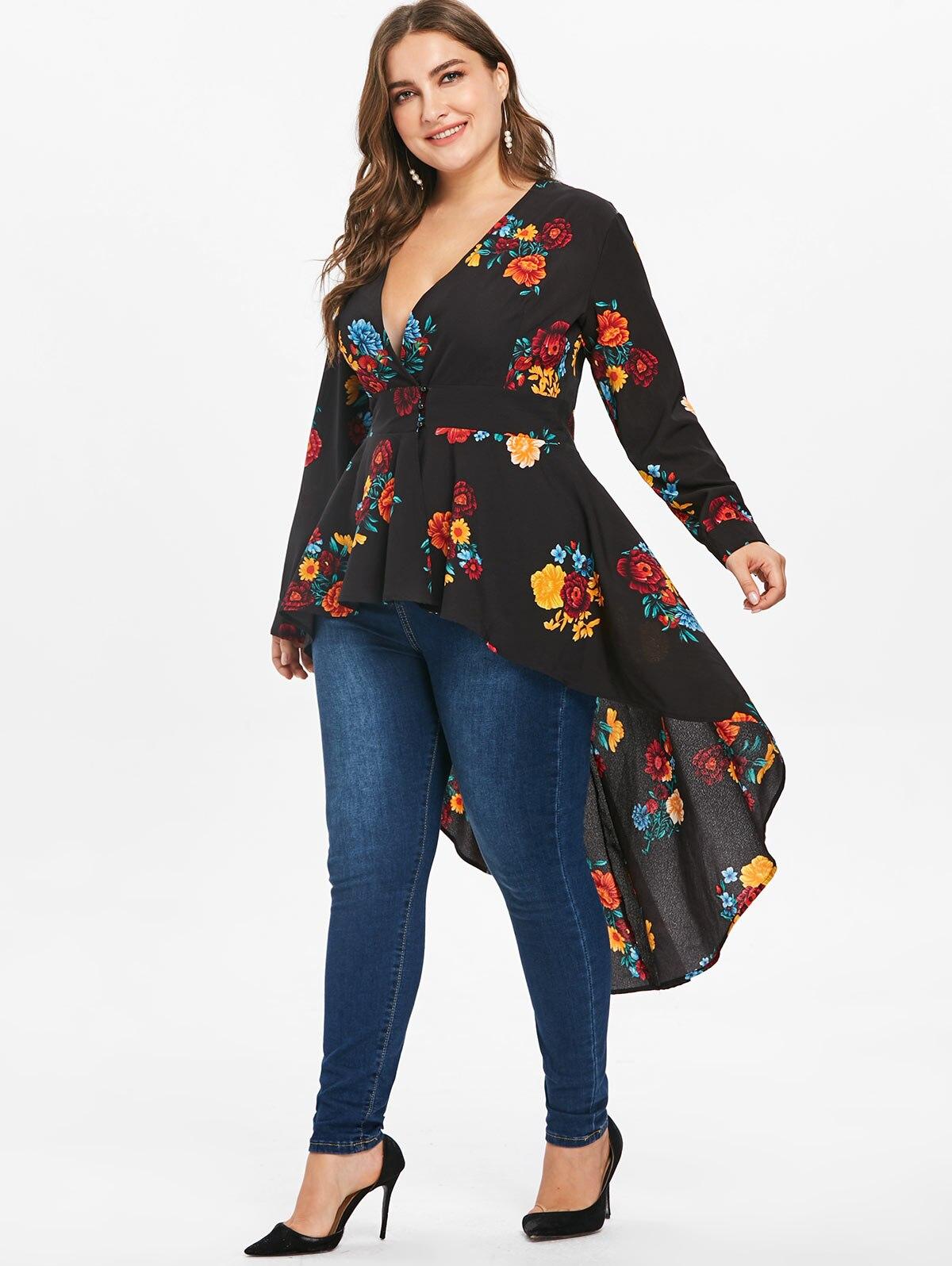 e17e9e6beeb24 AZULINA Plus Size Sexy V Neck High Low Floral Maxi Blouse Autumn Long  Sleeve Asymmetrical Blouses Casual Shirt Women Tops Blusas
