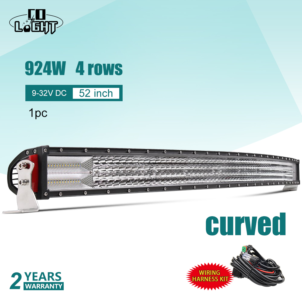 CO LIGHT 52 Inch Led Light Bar 8D Curved Combo Spot Flood Quad Rows Led Bar for Auto Niva Clio Toyota Nissan Holden ATV Lada UAZ