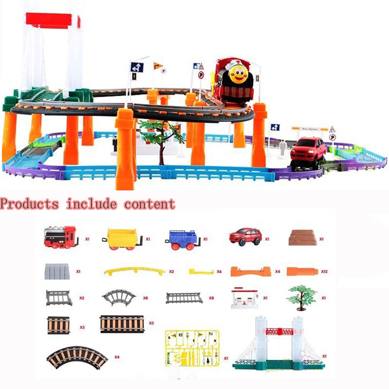 Two-layer Plastic Electric Railcar Childrens Puzzle Model Toys For Kids Gifts 338-11