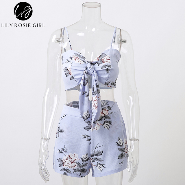 Lily Rosie Girl Blue Boho Floral Print Two Piece Set Playsuits Women Sexy Summer Beach Short Rompers Party Jumpsuit Overalls