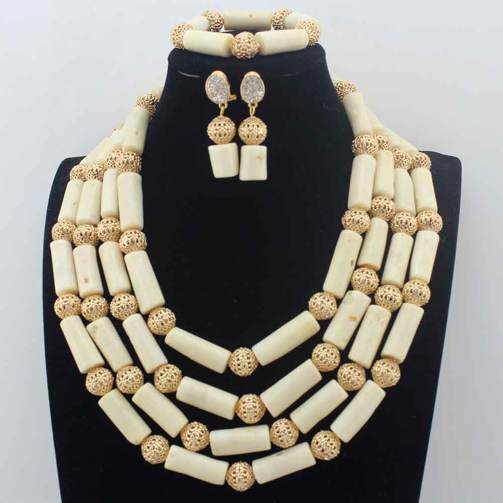 Gorgeous 4layer White Coral Beads Costume Necklace