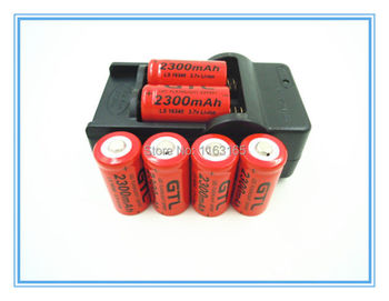 6x 2300mAh 16340 CR123A   Rechargeable Li-ion Battery  Red For LED Flashlight  + Travel Charger
