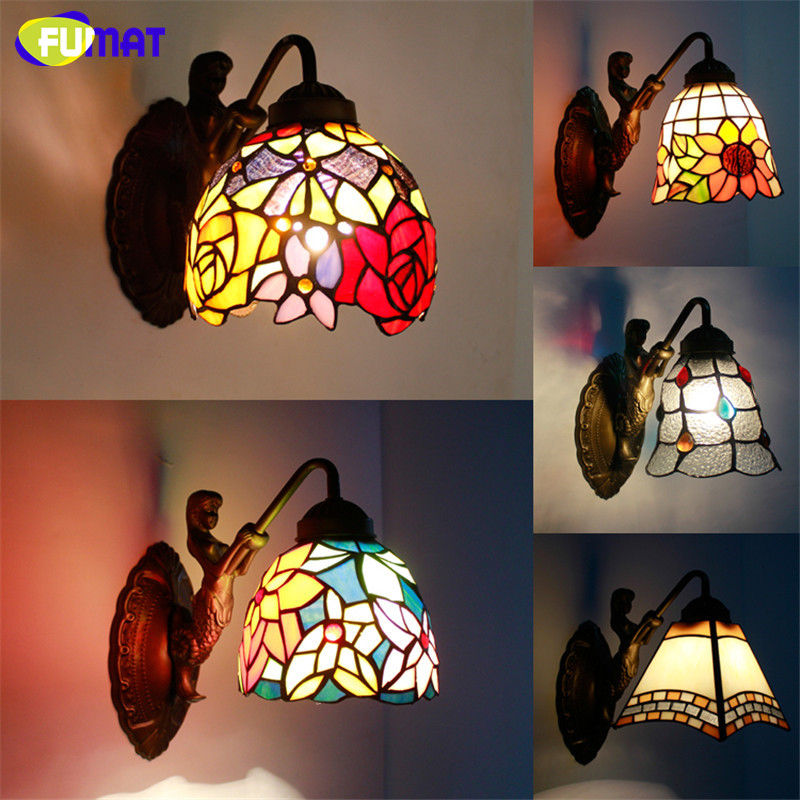 FUMAT  Wall Lamp Art Mermaid Body Stained Glass Shade Lights Corridor Bar Hotel Light Fixtures Mirror Front Light Wall Sconce new ak88 carbon fiber mountain road bicycle crank crankshaft set