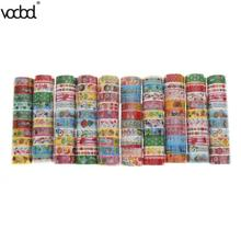 10pcs Japanese Washi Tape Crafts Mixed Styles Cartoon Patterns DIY Decorative Adhesive Tape Set Masking Paper Tapes Sticky