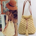 1PC Casual Straw Bucket Handbag Sweet Women Bohemian Vacation Summer Beach Bag Beige Brown Shoulder Bag