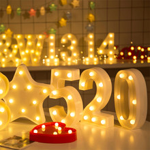 Luminous LED Letter Night Light Creative 26 English Alphabet Number Battery Lamp Romantic Wedding Party Decoration Christmas(China)