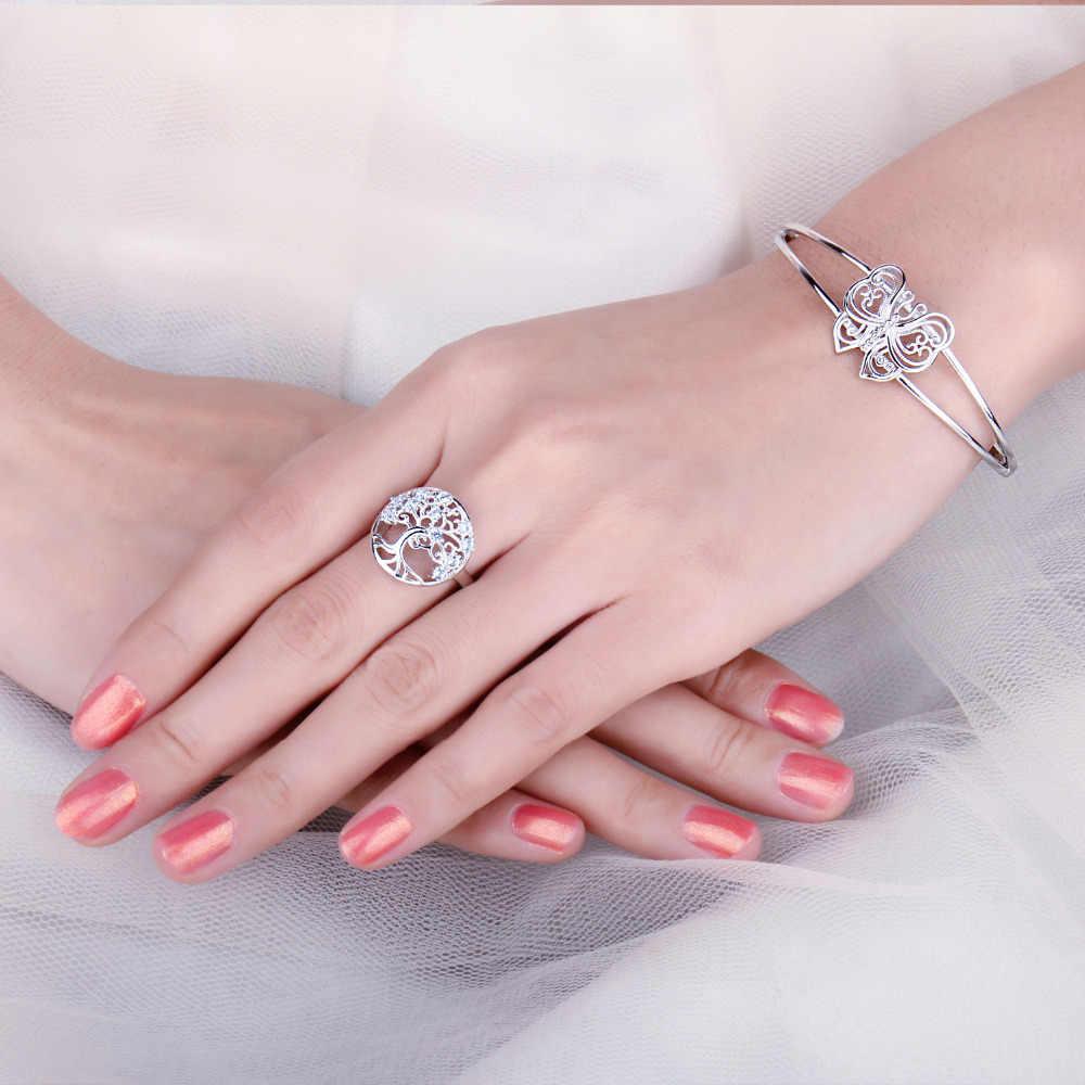 JewelryPalace Tree Of Life สร้าง Blue Spinel แหวน 925 เงินสเตอร์ลิงแหวนค็อกเทลแหวนเงิน 925