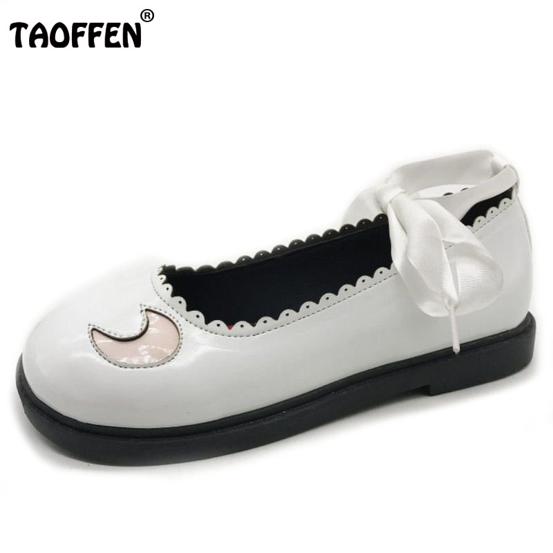 TAOFFEN Sweet Flats Shoes Women Star Round Patent Leather Flats Shoes Women Cross Strap Flat Shoes Women Footwear Size 35-39 rizabina concise women sneakers lady white shoes female butterfly cross strap flats shoes embroidery women footwear size 36 40