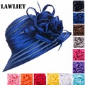 Women Sun Hats Polyester Satin Feather Church Wedding Kentucky Derby  Hat Women Summer Hats Solid Female Cap 12 colors A214