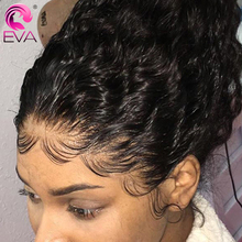 Glueless מתולתל תחרה מול שיער טבעי פאות מראש קטף 13x 4/13x6 תחרה מול פאה עבור נשים שחורות EVA שיער ברזילאי ג רי תלתל פאה