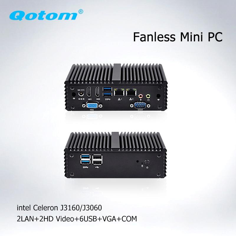Qotom Sans Ventilateur Mini PC Celeron j3160 j3060 AES-NI Barebone micro Ordinateur linux Ubuntu PC x86 Mini-Ordinateur Industriel