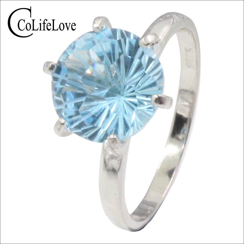 Classic light blue topaz ring for evening party 8 mm round cut natural VVS topaz silver ring 925 silver topaz fine jewelry