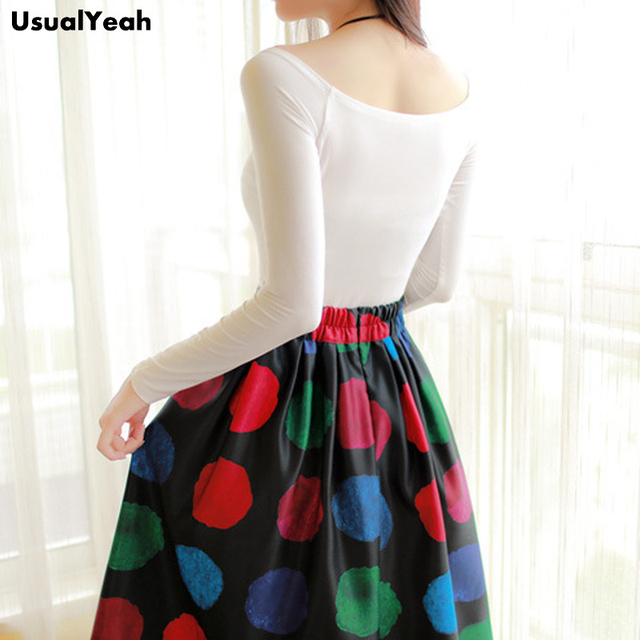 2017 A Line Flare Pleated Fashion Street Style Women Skirts Flower Dots Pattern Casual Vintage Midi Skirt Elastic Waist
