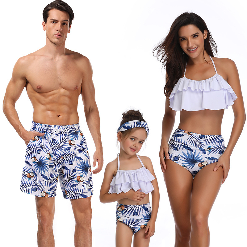 Newest Fashion Printed Family Matching Swimwear Mother and Daughter Swimsuit Bikini Father Son Beach Trousers
