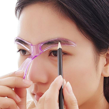 New arrival Women's Reusable Eyebrow Stencils Shaping Grooming Eye Brow Make Up Template Tool Accessories Random Color