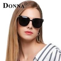 Donna Quá Khổ Cat Eye Sunglasses Phụ Nữ Vòng Phân Cực Cổ Điển Khung Phẳng Tầm Nhìn Ban Đêm Mặt Trời Người Phụ Nữ Thời Trang Kính Ống Kính D91