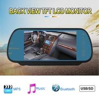 Auto mp3/mp4-speler Auto Achteruitkijkspiegel Monitor 7 Inch display kleur TFT LCD bluetooth handsfree fm-zender Ondersteuning SD USB