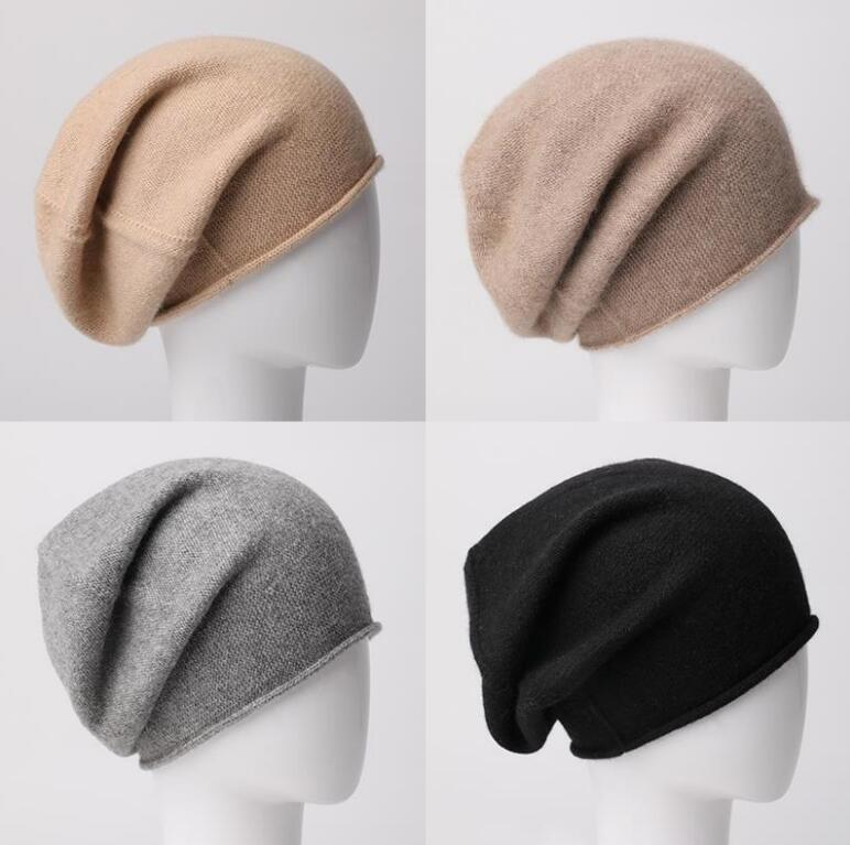 100%Cashmere Hat Women Gray Skullies Beanies Unisex Cap Natural Fabric Fashion Soft Warm Hats Men Hot Selling Free Shipping