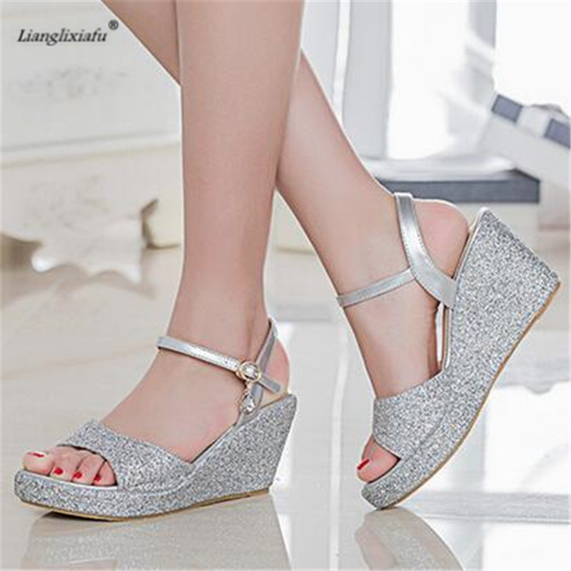 LLXF 8cm High-heeled Sequins Shoes woman Stiletto female Sandals Peep Toe Wedges Pumps Small Yards:30 31 32 33 34 Plus:42 43