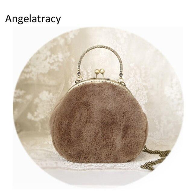Angelatracy 2018 Nova Fluffy Mulheres de Mini Sacos De Café Bolsa Faux Bolsa De Pele Marrom Distorcido Fur Mulheres Sacos Do Mensageiro bolsa feminina