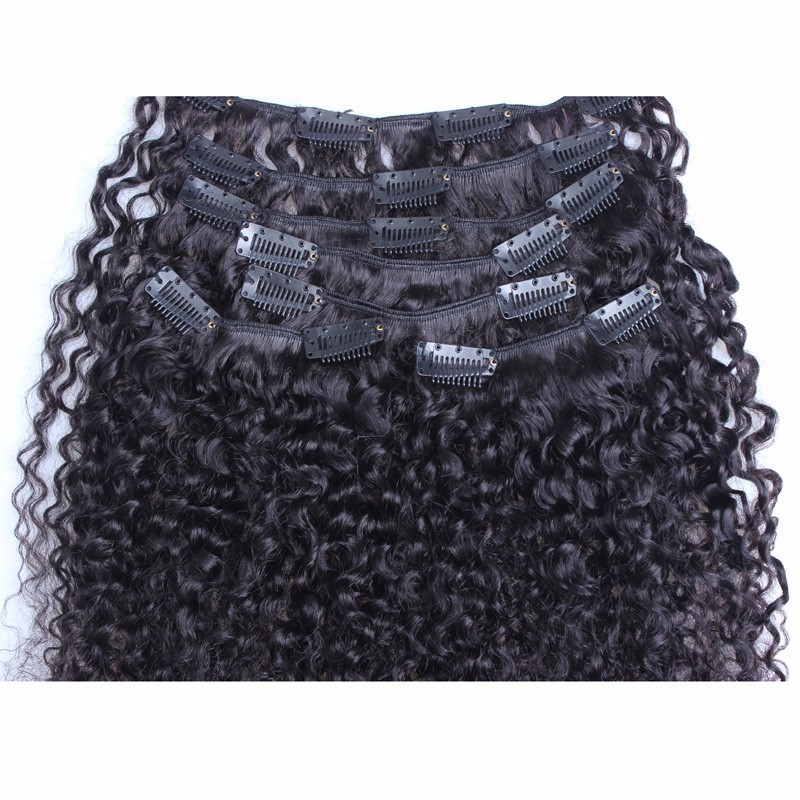 Clip-In-Human-Hair-Extensions-7Pc-Natural-Brazilian-7A-African-American-3B-3C-Kinky-Curly-Clip