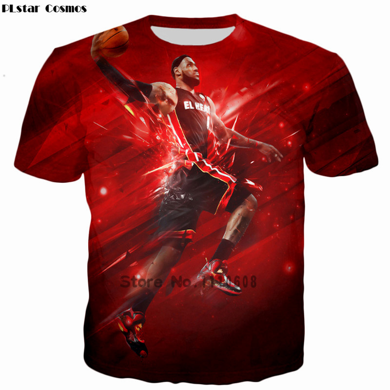 PLstar Cosmos Basket ball painting tshirt Summer fashion Men/Women casual T-shirts Star character Lebron James 3d print Hip Hop
