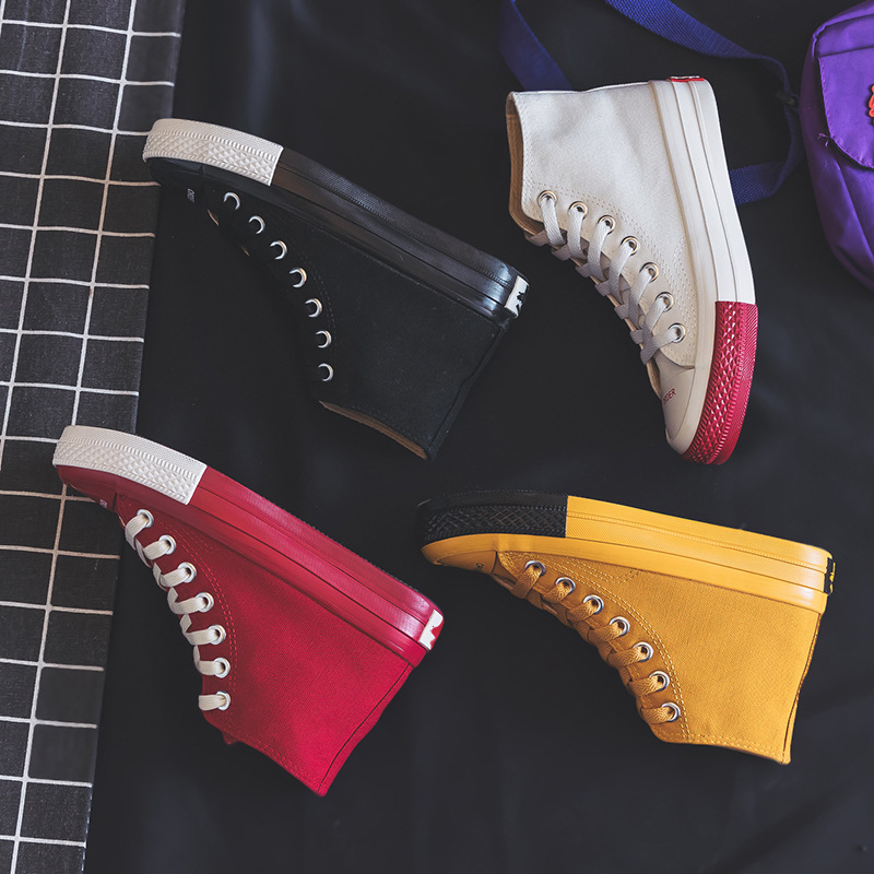 Sneaker Women Canvas Shoes Vulcanized 2019 New Spring Autumn Lady Stylish Shoe Fashion High Top Lace Up Flat Heel Red Yellow