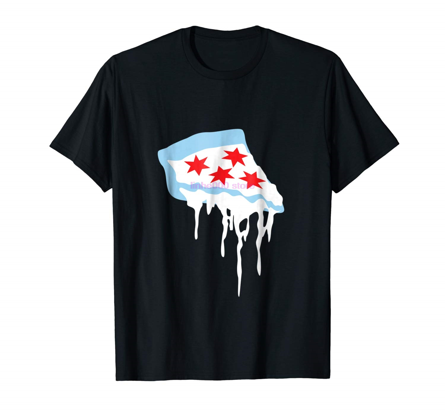 brand men shirt Deep Dish Chicago T Shirt The Chicago Flag As Pizza image