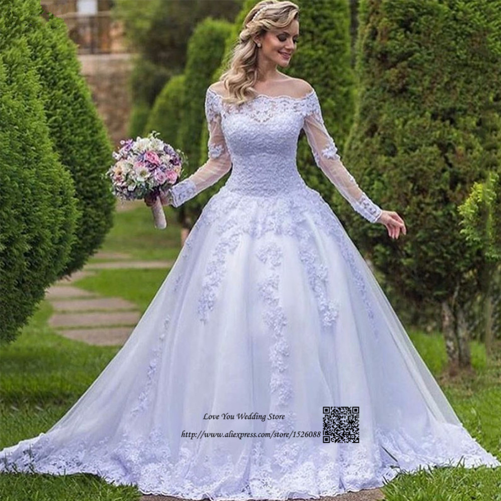 China Long Sleeves Wedding Dress Custom Made Lace Princess: Vestido De Noiva Com Manga Vintage Lace Wedding Dress Long