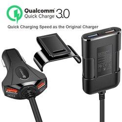 Cztery ładowarka samochodowa z portem USB z młotek bezpieczeństwa ładowarka samochodowa QC3.0 szybkie ładowanie 3A 5V dla telefonu ładowarka samochodowa kabel 1.7m